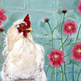 Chicken with flowers, oil on canvas, 30 x 40 cm., 2009