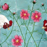 2 Chickens with flowers, oil on canvas, 30 x 40 cm., 2009